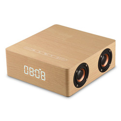 Wireless HiFi Wooden Bluetooth Speaker Solid Wood Subwoofer Sound of 3D Stereo Speakers with Clock Alarm Support AUX TF Card