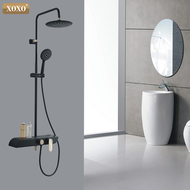 XOXO Shower Faucet Cold and Hot Water Mixer Golden White Shower Mixer System Wall Mount Storage