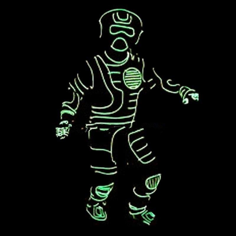 Индивидуальный дизайн светодиодный светящийся неоновый костюм из электролюминесцентных проводов, маски, перчатки и обувь Хэллоуин танцевальная одежда для сценического шоу, клуба, бара, DJ