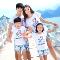 2016 Summer New family matching clothes outfits Holiday printing mother daughter father son kids sets t shirt Pants