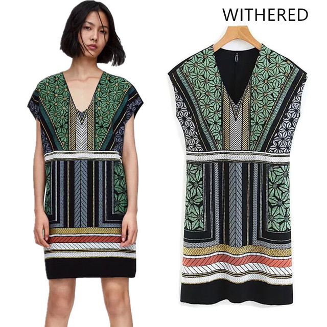 788cac68f09c Withered 2018 vestidos feminina dress england style print striped floral v- neck natural regular mini dress vestido women 0807