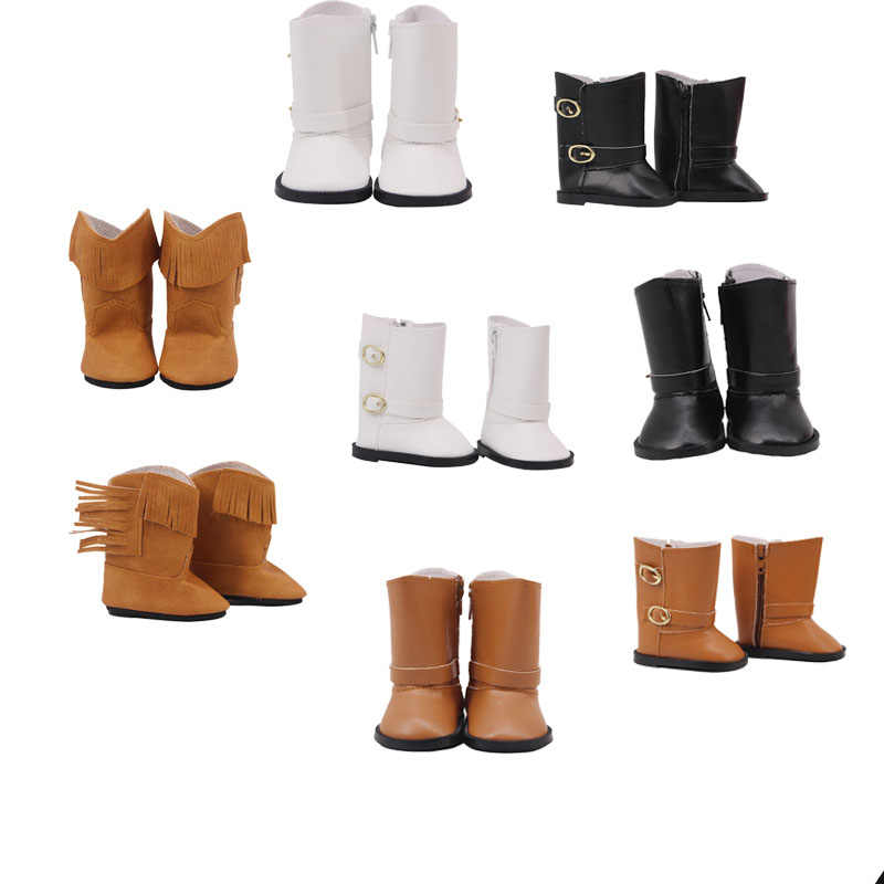 2019 New Arrivals 4 Pcs Doll Leather Boots Doll Shoes For 18 Inch American Doll & 43 Cm Born Doll For Generation Girl`s Toy