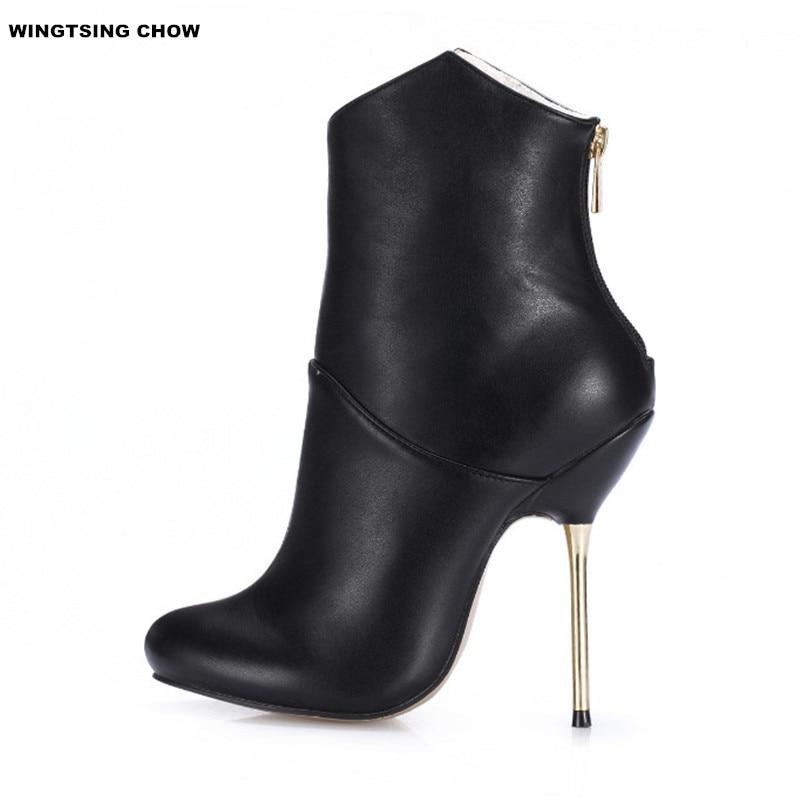 Brand new خنجر الكاحل النساء الأحذية الجلدية 2016 حذاء امرأة عالية الكعب مضخات أحذية للنساء-في أحذية الكاحل من أحذية على  مجموعة 1