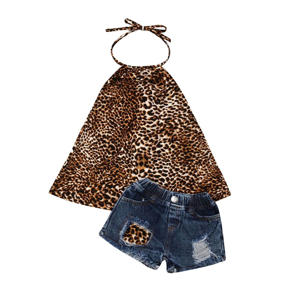 1a7a11352392 2Pcs Summer Infant Kids Baby Girls Clothes Sets Sleeveless Leopard Print  Tops Jeans Shorts Outfit Clothes