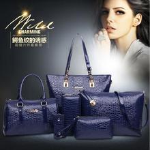 2015 new crocodile bags Patent Leather bag Shoulder Crossbody Bag 2Handbag+Messenger Bag+Purse+Wallet 6 PCS/Set Q5