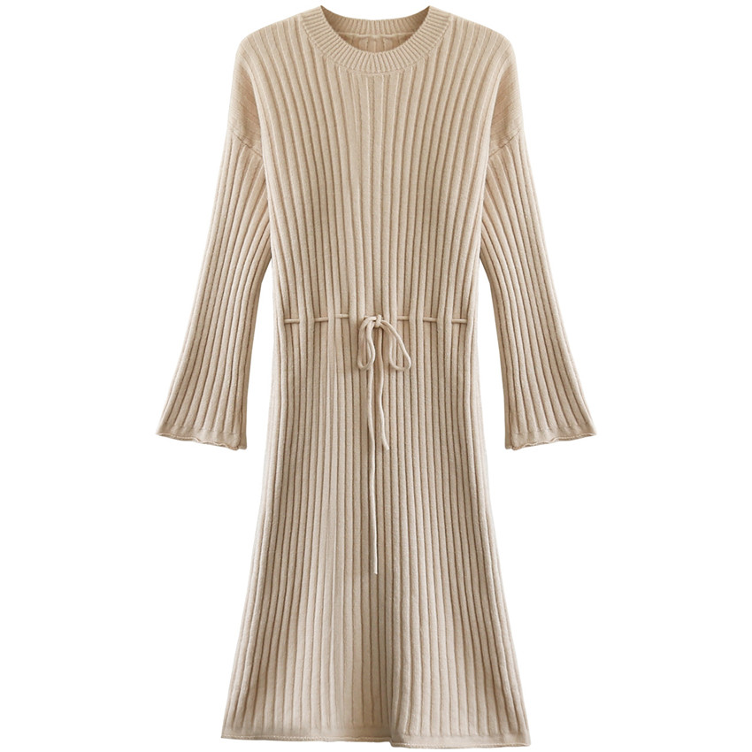 2017 Warm Autumn Winter Slim Knitted Sweater Long Dresses Fashion Flare Sleeve Dress Mid-Calf  Sashes Empire Casual Dress Mw035 zocept women s dresses solid full sleeve v neck a line mid calf soft cashmere knitted warm autumn winter female slim long dress