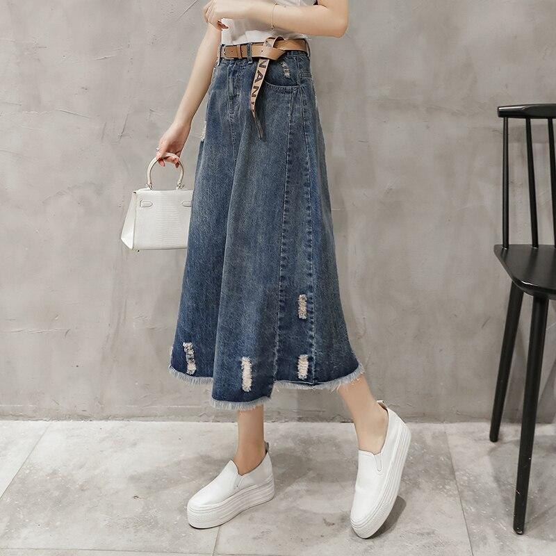 53772f2993e8 Di alta Qualità 2018 Nuovo Modo Strappato Buco Blu Tassel Hem Jeans Gonne Delle  Donne Estate