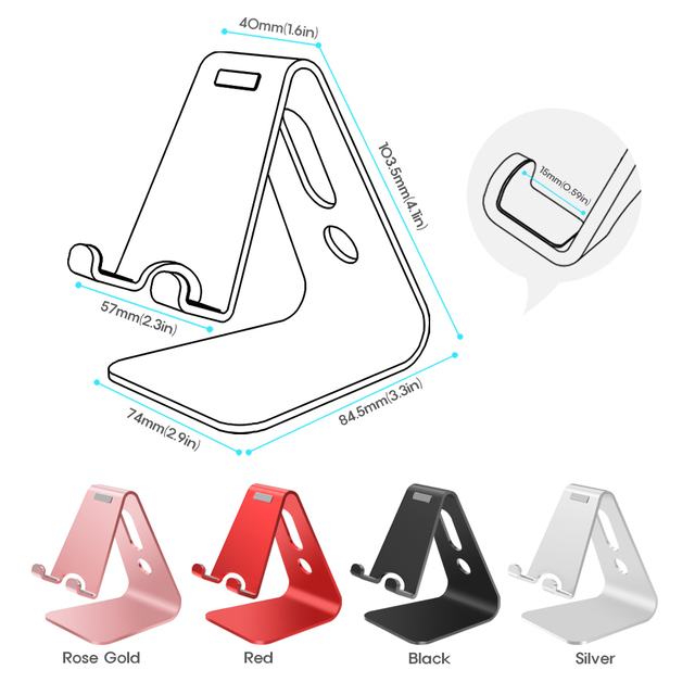 Vogek Mobile Phone Holder Stand Aluminium Alloy Metal Tablet Stand Universal Holder for iPhone X/8/7/6/5 Plus Samsung Phone/ipad 4
