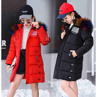 Children Winter Jacket Girl Coat Purple Cute Hooded Colored Fur Teenage 3 6 8 9 10 11 12 13 Years Kids Clothes Thick Outerwear