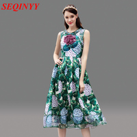 Green Leaf Plants Dress Women Spring Summer 2017 Sleeveless Tank Diamonds Floral Print Appliques High Street Casual Beach Dress