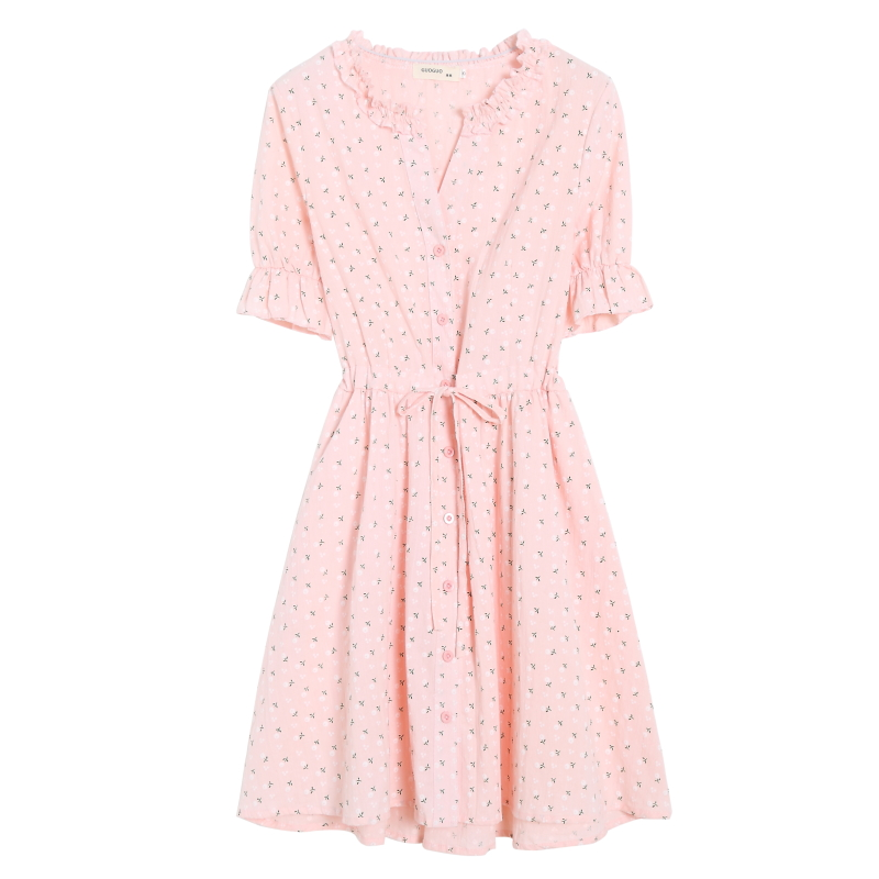 Mori Girl Summer Dress 2018 New Women V-collar Single-Breasted Cotton Shirt Dresses Female Floral Print Vestidos S-XL