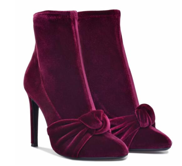 Spring and autumn woman wine red pointed toe high heel ankle boots Ladies super high thin heel shoes Fashion short boots classic red blue solid pointed toe high heel ankle boots for ladies fashion super high thin heel shoer boots women dress shoes