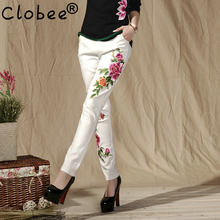 Fashion Women Black And White Vintage Embroidery Flowers Casual Long Pant Spring Autumn New Elastic Waist Trousers(China)