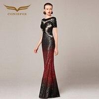2016 Coniefox סגנונות חדשים מארח בת ים שרוול קצר פאייטים סקסי שחור ואדום לנשף הערב ארוך שמלות 82281