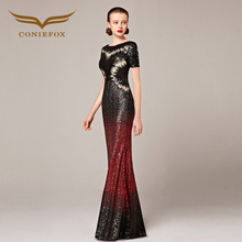 2016 Coniefox New Styles Short Sleeve Sequins Sexy Black and Red Mermaid Host Prom Evening Long