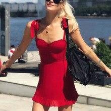 Cuerly pretty ruffle chiffon bow dress women party club beach sundress bodycon mini L5