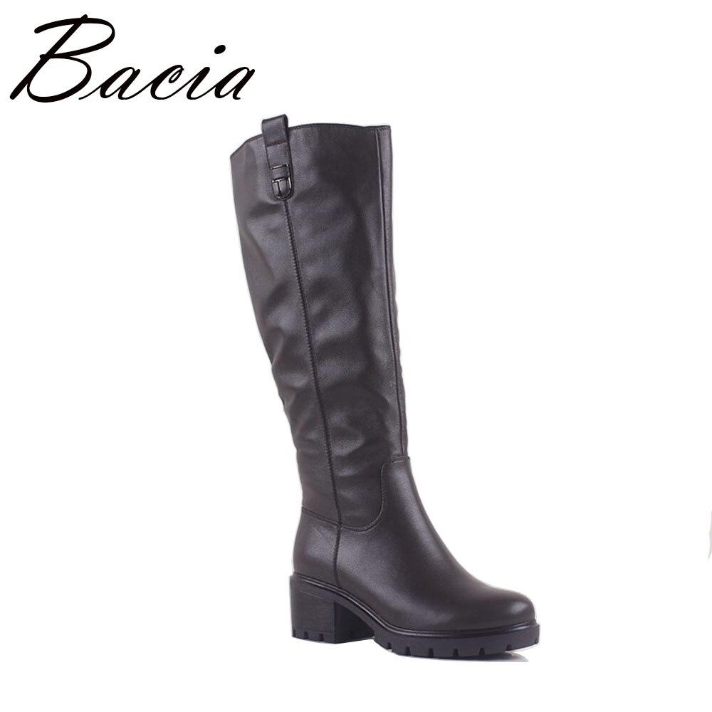 Bacia/2017 серые кожаные ботинки на толстом каблуке с круглым носком сапоги до колена женские ботинки с высоким голенищем Для женщин кожаные бот...