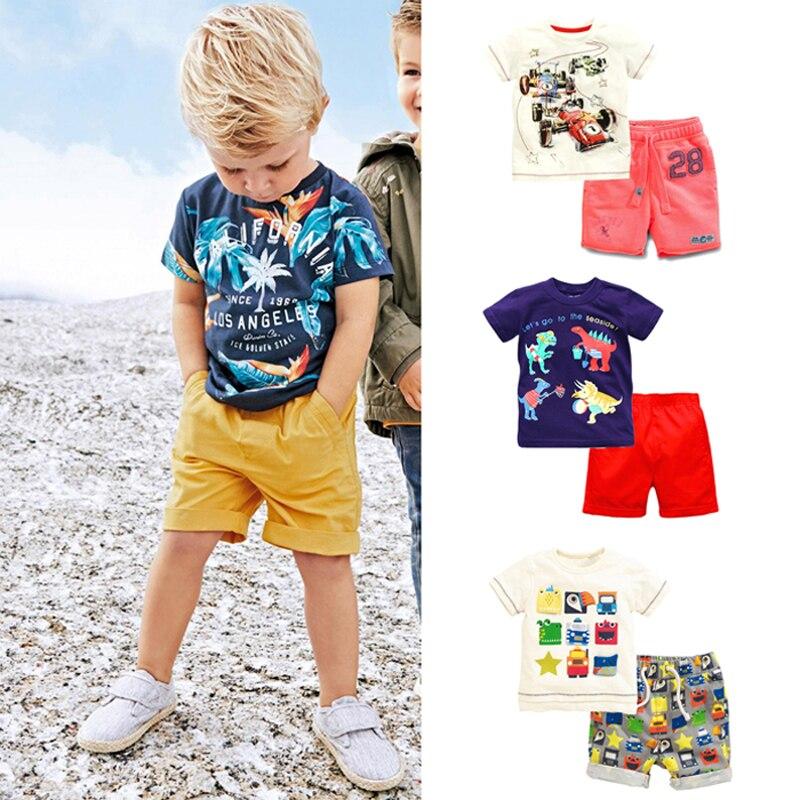 Новинка 2018 года; брендовая 100% хлопковая летняя одежда для маленьких мальчиков комплект 2 предмета; одежда для детей костюм Bebe дети короткий ...