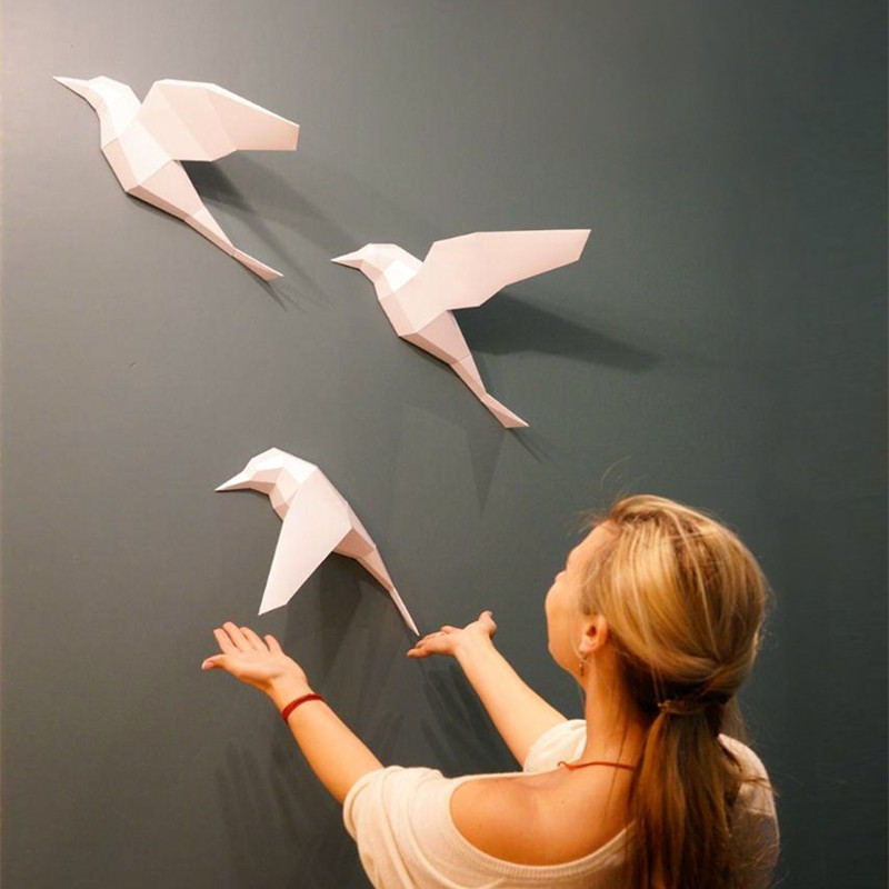 3D Paper Model 3pcs Birds Papercraft Home Decor Wall Decoration Puzzles Educational DIY Kids Toys Birthday Gift 877