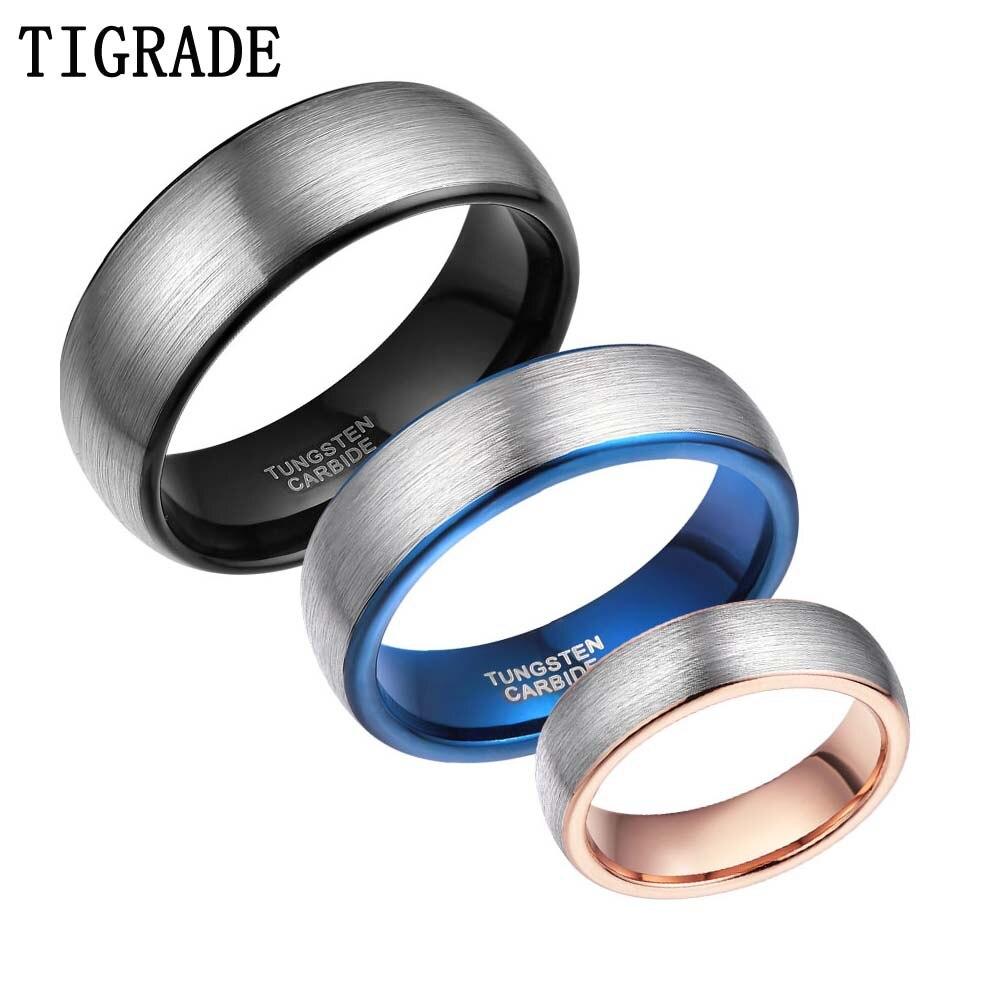 853b65fa0a44 6 MM de alto pulido cepillado anillo de carburo de tungsteno de los hombres  negro azul Rosa incrustaciones de oro cúpula mujeres boda banda anillos de  EE.