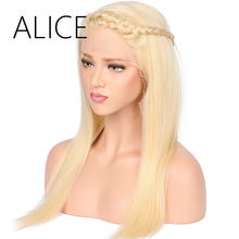 ALICE 150% Density Blond Lace Front Human Hair Wigs With Baby Hair Bleached Knots 12-20 Inch Straight Remy Brazilian Lace Wig