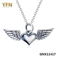 100% נשים שרשרת כסף סטרלינג 925 אמיתי טהור GNX11417 לב כסף עתיק תכשיטי שרשרת תליון עם כנפי מלאך