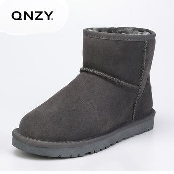 QNZY 100% real leather wool Snow boots Classic men's inner sheep fur short boots Sheepskin winter warm breathable men shoes