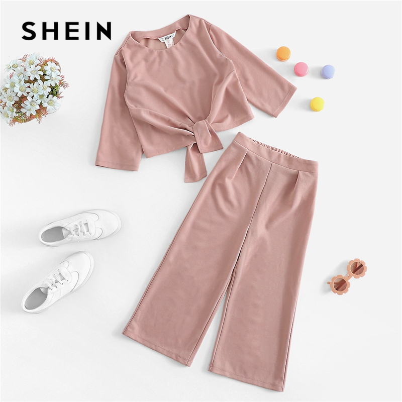 SHEIN Kiddie Girls Pink Solid Knot Front Casual Top And Wide Leg Pants Two Piece Set 2019 Spring Long Sleeve Children Suit Sets solid self belted wide leg pants