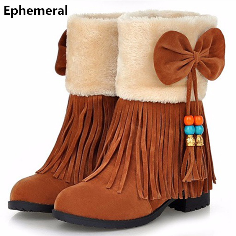 Ladies Chinese Style Bow Tassel Cmfort Fur Ankle Booty Big -6461