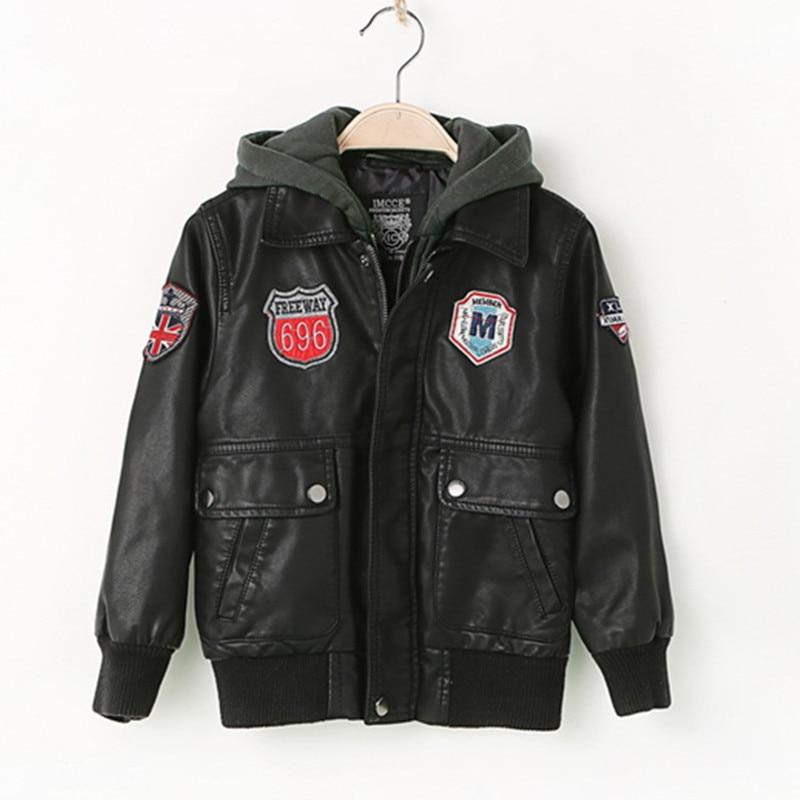 Toamna jacheta din piele pentru baieti, jacheta din piele pentru copii, imbracaminte avansata din piele imitatie PU, imbracaminte de imbracaminte (3-12yrs)