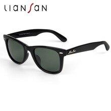 Liansan Винтаж поляризованный женский квадратный Солнцезащитные очки для женщин Для мужчин ретро Роскошные Брендовая Дизайнерская обувь ацетат драйвер модные черные LSP2140H