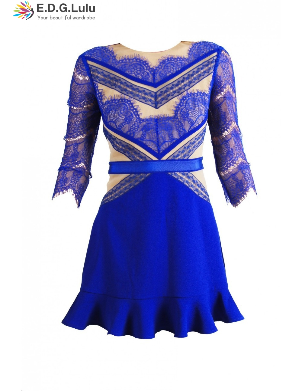 mini <font><b>dress</b></font> vintage chic <font><b>sexy</b></font> casual <font><b>club</b></font> party elegant blue half sleeve lace patchwork new arrival <font><b>2018</b></font> <font><b>women</b></font> <font><b>summer</b></font> image