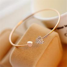 Women's Open Bangle with Heart Crystal
