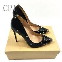 브랜드 얇은 뒤꿈치 신발 여성 12 센치메터 하이힐 리벳 박힌 섹시 뾰족한 발가락 블랙 웨딩 활주로 드레스 스틸레토 신발 상자