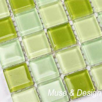 Świeża jasnozielona szklana płytka mozaikowa do łazienki schody graniczne ganek ściana kuchenna podłoga majsterkowanie tanie i dobre opinie Suki C CN (pochodzenie) Pakiet mozaiki MD-13 Ins Style 300 x 300 mm 4 mm Crystal Glass Mesh backing Wall floor and backsplash ect