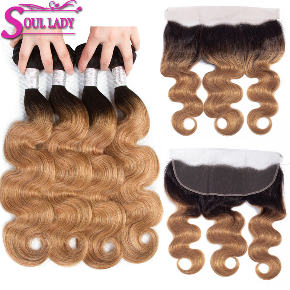 Ombre Body Wave 4 Bundles With Frontal 1B/27 NonRemy Ombre Brazilian Hair Weave Bundles Blonde Bundles With Frontal Closure