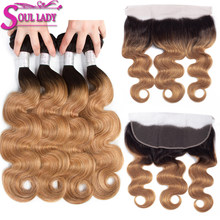 Ombre Body Wave 4 Bundles With Frontal 1B/27 NonRemy Ombre Brazilian Hair Weave Bundles Blonde Bundles With Frontal Closure(China)