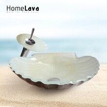 Moderne Mode Scallop Form Gehärtetem Glas Waschbecken und Wasserhahn Set
