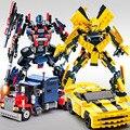 Nueva original de la película robot transformación optimus prime bumblebee dinosaur king 3d diy bloques de construcción de 2 en 1