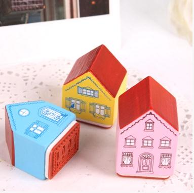 3pcs Wooden Rubber Stamps Wood Diy Decoration  Mediterranean Style House Full Of Romantic Love Cat Kitty Thank you Free Shipping full house