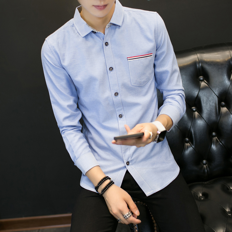 2017 Spring New , Fashion mens casual long-sleeved big size shirt, Comfortable Solid Color Slim Business Shirt Gray, White