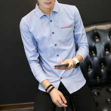 2017 Spring New Fashion men s casual long sleeved big size shirt Comfortable Solid Color Slim