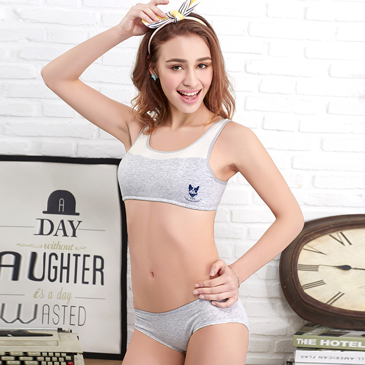 Cotton Bra Set Women Top and Underwear Vest Without Ring Movement Young Female Pure