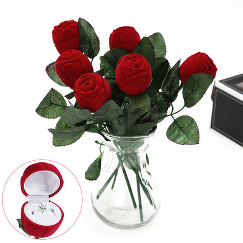Red Rose Ring Box Personalized Velvet Wedding Originality Gift Box Fashion Valentines Engagement Box Jewellery Packaging Box W3