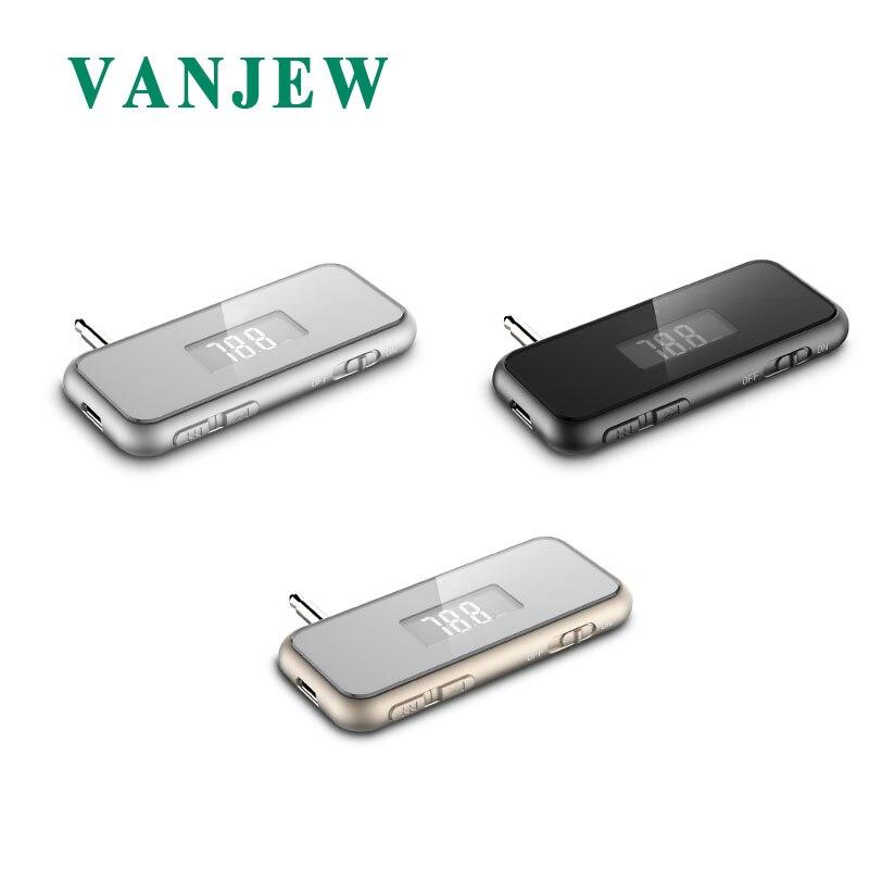 VANJEW T12 FM Transmitter HandsFree Call Mini 3.5mm AUX Wireless Car Radio Music Audio FM Modulator Transmiter FM LCD Display