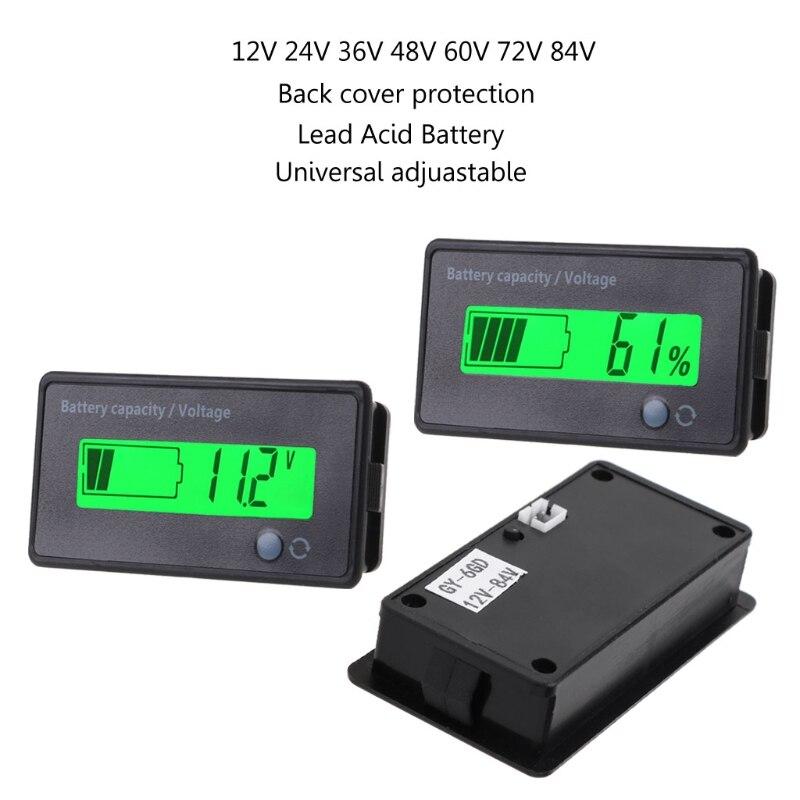 Indicateur de capacité de batterie au plomb-acide 12 V-84 V voltmètre moniteur LCD