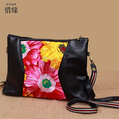 XIYUAN BRAND 2017 women Genuine Leather national vintage floral embroidered single shoulder Messenger bags female leisure bag caerlif brand genuine leather bag colorful stripe weave vintage national wind shoulder bags female bag women messenger bags