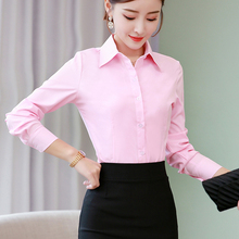 Women Shirts Woman Blouses Cotton Tops and Long Sleeve Ladies Pink/White Blusas Plus Size 5XL