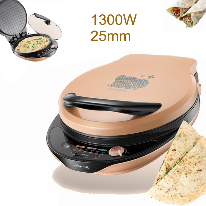 15% JA160 1300W Multi function Electric  Crepe Makers with Glass Cover Double sided Independent Heating Baking Pan Button Type|Crepe Makers| |  - title=