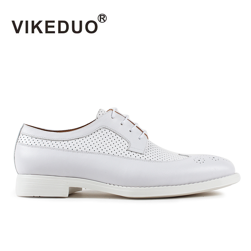 VIKEDUO Brand 2017 Fashion Top Real Leather Hollow Breathable Men Shoes Leisure Casual Lace Shoes Summer Spring White Footwear